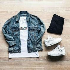 Outfit grid - Denim jacket & T-shirt today http://www.99wtf.net/men/mens-hairstyles/trendy-fantastic-hair-products-men/