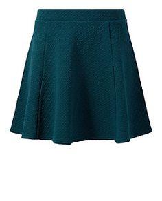 Dark Green (Green) Dark Green Jersey Jacquard Skater Skirt    327283438   New Look