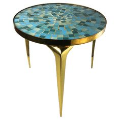 Mid-Century Italian Style Cocktail Table with Brass and Mosaic Top | From a unique collection of antique and modern gueridon at https://www.1stdibs.com/furniture/tables/gueridon/