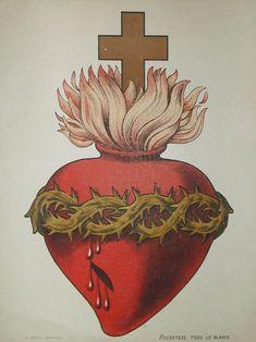 The Sacred Heart of Christ. Jesus, protect us. Save us. Religious Icons, Religious Art, Sagrado Corazon Tattoo, Sacred Heart Tattoos, Jesus E Maria, Brust Tattoo, Herz Tattoo, Religion, Heart Illustration