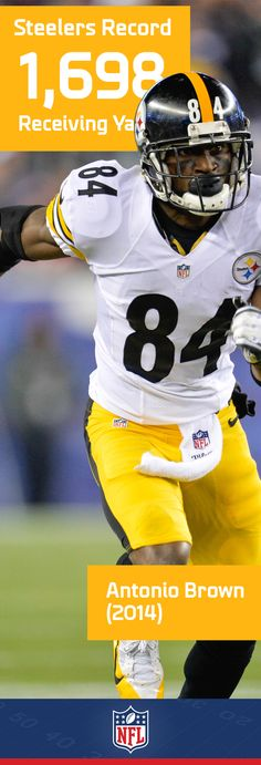 Antonio Brown has quickly established himself as one of the best wide receivers in the league. Don't be surprised to see him break his own record for the Pittsburgh Steelers. Steelers Gear, Pittsburgh Steelers Football, Pittsburgh Sports, Steelers Fans, Football Records, Football Names, Football Players, Antonio Brown, Fantasy Football