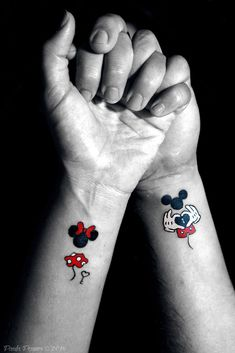 Magical Disney Tattoo Ideas & Inspiration - Brighter Craft - - 100 magical Disney tattoo ideas for every Disney fanatic. Tattoos last forever, but so does the love for Disney. Movies, charcters, quotes, discover here. Mickey Tattoo, Mickey Mouse Tattoos, Tattoo Disney, Disney Quote Tattoos, Literary Tattoos, Tattoo Quotes, Disney Couple Tattoos, Cute Couple Tattoos, Small Disney Tattoos