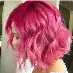 50 Choicest Lob Haircut Ideas to Flaunt Bright pink hair with pink shadow root - Station Of Colored Hairs Bright Pink Hair, Lob Haircut, Haircut Short, Mermaid Hair, Silver Hair, Silver Blonde, Blonde Pink, Ombre Hair, Dyed Hair