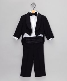 Take a look at this Black Five-Piece Tuxedo Set - Infant, Toddler & Boys on zulily today!