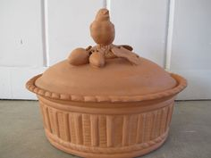 Ceramic Rustic Red Clay Roasting Pot with a Bird and Stawberries by PortlandiaRevibe on Etsy