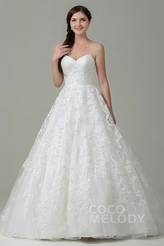 Pretty+A-Line+Sweetheart+Natural+Court+Train+Tulle+and+Lace+Ivory+Sleeveless+Zipper+With+Buttons+Wedding+Dress+with+Appliques+and+Beading+CWXT15017