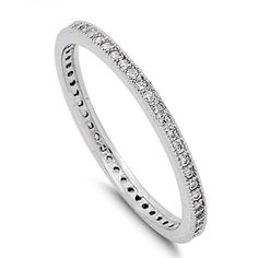 Women's Sterling Silver Cubic Zirconia Stackable Eternity Wedding Band Ring. BUY NOW AND SAVE! Use Promo Code Pin9175 and Save 10% on your Entire Order!