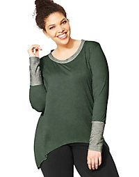 Just My Size Active Women's Tunic Top with Extended Cuffs & Hi-Lo Hem