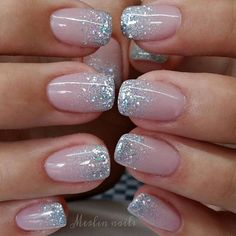 In search for some nail designs and some ideas for your nails? Here is our listing of must-try coffin acrylic nails for modern women. Stylish Nails, Trendy Nails, Glitter Tip Nails, Glitter French Nails, Silver Sparkle Nails, French Tip With Glitter, Glittery Nails, Glitter Wedding Nails, Ombre French Nails