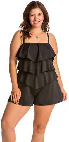 3bd16c9f4e8 Fit4U Swimwear Plus Size Solid Tiered Swim Romper 8113546   Be sure to  check out this