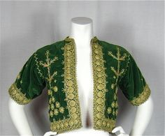 Vintage 50s Green Velvet Asian or Middle Eastern Jacket,