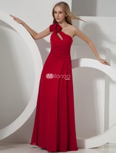 Red One-Shoulder Bow Chiffon Womans Prom Dress. Red One-Shoulder Bow Chiffon Womans Prom Dress. See More One Shoulder at http://www.ourgreatshop.com/One-Shoulder-C935.aspx