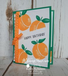Just Peachy - So summery! I love the Fresh Fruit stamp set and matching Fruit Stand DSP! I have more photos, dimensions and details on my blog here:  http://astampabove.typepad.com/my-blog/2016/06/just-peachy.html  Thanks for looking!