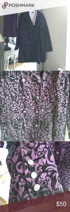 Diane Gilman Purple Velour Coat and Pant set This is a heavy purple velour jacket by Diane Gilman with matching pants also by Diane Gilman. They have never been worn before and are in great condition. There are no signs of holes or wear or tear all of the buttons are intact. The coat is size 1X and the pant is size 18 in women's Diane Gilman Jackets & Coats Trench Coats