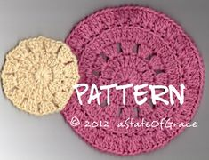 Facial Scrubbie and round Washcloth PATTERN Set 1, Dishcloth, Doily, Coaster, Sponge, INSTANT DOWNLOAD
