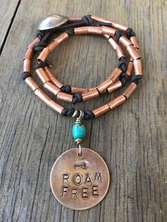 ROAM FREE brass and copper necklace by dancingbluestone on Etsy
