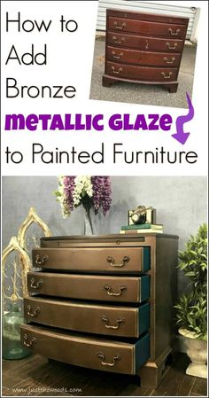 Glam up your painted furniture with bronze metallic glaze. Add a metallic glaze to a painted chest using the Finish Max Super paint sprayer by HomeRight. By distressing the metallic finish you create a worn metallic for a one of a kind look. Glazing Painted Furniture, Painted Furniture For Sale, Metallic Painted Furniture, Painted Bedroom Furniture, Distressed Furniture, Refurbished Furniture, Metal Furniture, Repurposed Furniture, Salon Furniture