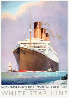 RMS Majestic poster from the 1920s.