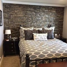 dark grey headboard wall to make the bedroom more refined