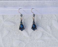 Dark Blue Crystal Earrings by KateMaderDecor on Etsy
