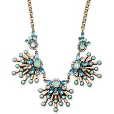 Sparkling Sage Three Station Detailed Stone Bib Necklace ($59) ❤ liked on Polyvore
