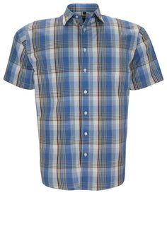 melvinsi fashion Kurzarmhemd für 39,95€. Kurzarmhemd, Blau kariertes Hemd, Klassischer Kragen, Offene Brusttasche bei OTTO