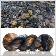 RIVER ROCK SUPERWASH MERINO SILK PEARLESCENT FINGERING YARN by expression fiber arts