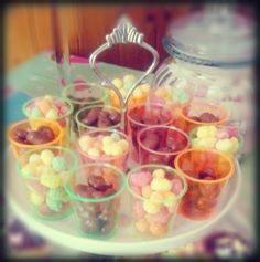 Rainbow drop and Chocolate raisin shots!