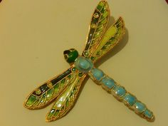 "VTG. HUGE PLIQUE A JOUR INSPIRED ENAMELED DRAGON FLY BROOCH PIN 3 1/4"" SIZE MINT"
