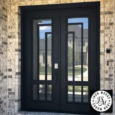 Double Front Entry Doors, Entry Doors With Glass, Exterior Front Doors, Glass Front Door, Modern Entrance Door, Modern Door, Entrance Doors, Grill Door Design, House Gate Design