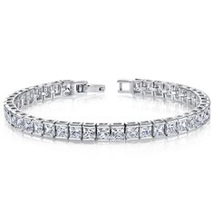 MSRP: $399.99   Our Price: $249.99   Savings: $150.00    Item Number: SB2688(2)   Availability: Usually Ships in 5 Business Days    PRODUCT DESCRIPTION:    Crafted in Sterling Silver, this beautiful bracelet features sparkling Princess Cut cubic zirconia bezel set for a sleek and contemporary design. This beautiful bracelet makes the perfect gift for any occasion.    FEATURES:    Crafted in Fine Sterling Silver   (42) 4.0 mm Princess Cut Cubic Zirconia  Bezel Setting   High Polish Finish …
