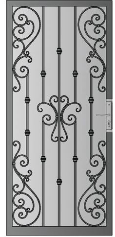 Security Screen Doors : Great Gates Android Whiting Iron in Phoenix AZ Iron Gate Design, Window Grill Design, Wrought Iron Doors, Metal Screen Doors, Iron Art, Iron Decor, Steel Doors, Security Doors, Security Screen