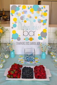 Baby shower activities | CatchMyParty.com  Love the momma mosas & popcorn bar!!