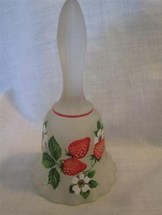 VINTAGE WESTMORELAND GLASS SATIN STRAWBERRIES BELL WITH GOLD LABEL