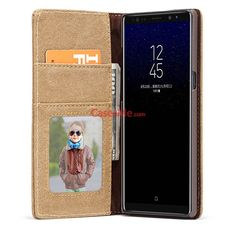 CaseMe Samsung Galaxy Note 8 Canvas Leather Wallet Magnetic Case