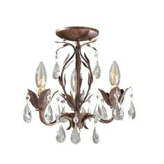 $178.20 - World Imports Bijoux Collection Weathered Bronze 3-Light Semi Flush Convertible Chandelier
