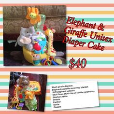 Unisex elephant & giraffe diaper cake Will b wrap in plastic with ribbon Other