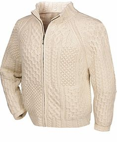Hand Knit Merino Wool Zip Front Aran Cardigan at Creative Irish Gifts.