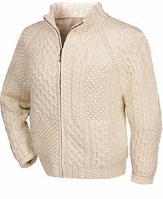 Hand Knit Merino Wool Zip Front Aran Cardigan at Creative Irish Gifts.
