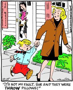 "Dennis the menace for "" arcamax publishing dennis the mena Cartoon Books, Cartoon Pics, Comic Books, Cartoon Characters, Dennis The Menace Cartoon, Morning Cartoon, Kids Laughing, Free Comics, Christian Humor"