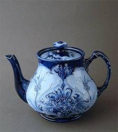 Macintyre Moorcroft Florian Ware teapot ... flow blue and white art nouveau floral design, c. 1905-1920s, ceramic, UK
