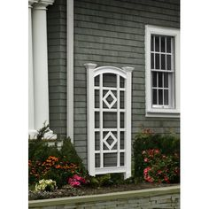New England Arbors Milan Vinyl Arch Wall Trellis - Thick side posts with large, tapered top finials give the New England Arbors Milan ft. Vinyl Arch Wall Trellis a full-bodied look to ensure that . Small Pergola, Cheap Pergola, Backyard Pergola, Pergola Shade, Pergola Plans, Pergola Kits, Pergola Ideas, Patio Roof, Metal Pergola