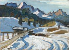 "thunderstruck9: ""Gabriele Münter (German, 1877-1962), Snowy landscape near Elmau, 1924. Oil on cardboard, 32.8 x 40.5 cm. """