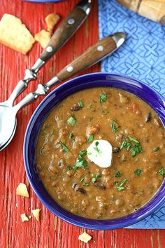 Love this meatless meal - Hearty Lentil & Black Bean Soup with Smoked Paprika @Cookin' Canuck Dara Michalski