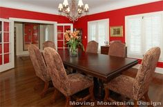 Permanent Link to : Classic Red Dining Room Wall Decorating with Luxury Wooden Furniture – hancock style