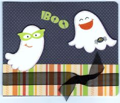 Recycled Material Utilized! Handmade Halloween Boo Ghosts Greeting Card. Inside message is 'Happy Halloween:' however, still allowing plenty of room for your own personal note, or message. Add picture                                                                                                                                                                                 More