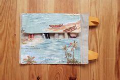estuche enrollable tela cosido a mano hecho a mano manta maquillaje transportar brochas neceser pipolart pipol art estampado oceano pacifico detalle print