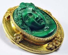 Early rare malachite cameo | Collectors Weekly Jewelry Design Earrings, Cameo Jewelry, Metal Jewelry, Vintage Jewelry, Indian Jewellery Design, Indian Jewelry, Jewelry Design Drawing, Cement Crafts, Antique Brooches