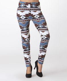Look at this #zulilyfind! LARA Fashion Brown & Blue Geometric Fleece-Lined High-Waist Leggings by LARA Fashion #zulilyfinds