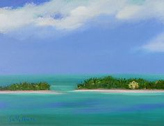 Sally Huss Art - Paradise on the Water by Sally Huss Canvas Prints, Framed Prints, Hallmark Cards, Art For Sale, Palm Trees, Sally, Serenity, Original Paintings, Paradise